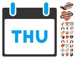 Thursday Calendar Page Icon with Love Bonus Stock Illustration