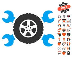 Tire Service Wrenches Icon with Lovely Bonus Stock Illustration