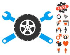 Tire Service Wrenches Icon with Dating Bonus Stock Illustration