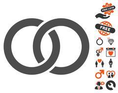 Wedding Rings Icon with Lovely Bonus Stock Illustration