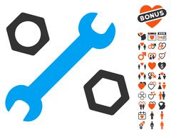 Wrench And Nuts Icon with Valentine Bonus Stock Illustration