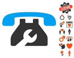 Repair Service Phone Icon with Valentine Bonus Stock Illustration