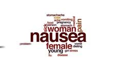 Nausea animated word cloud, text design animation. Stock Footage