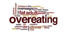 Overeating animated word cloud, text design animation. Stock Footage
