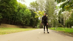 Inline skate. Woman moving on roller skates. Skater practicing inline skating 4K Stock Footage