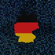 Germany map flag on hex code illustration Stock Illustration