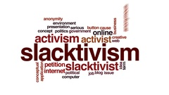 Slacktivism animated word cloud, text design animation. Stock Footage
