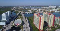 Aerial establishing shot of Eastern Shores Miami FL Stock Footage