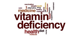 Vitamin deficiency animated word cloud, text design animation. Stock Footage