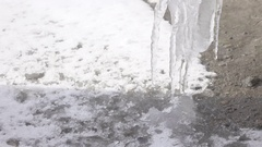 Icicles from dripping water Stock Footage