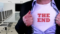 The end title on a shirt funny gig Stock Footage