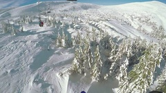 Landing from ski lift Stock Footage