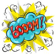 Vector pop art comic speech bubble with Boom word Stock Illustration