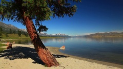 Unny day on the shore of a mountain lake. Mongolia Stock Footage