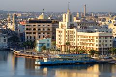 Old Havana at dawn with a view of the bay and several landmarks Stock Photos