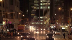 CLOSE UP: Traveling by car in crowded busy streets in NY city center at night Stock Footage