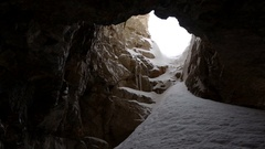 Entrance to the cave Stock Footage