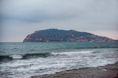 Alanya city, view from the beach Stock Photos