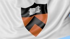 Close-up of waving flag with Princeton University emblem, seamless loop, blue Stock Footage