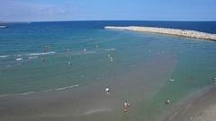 Flight over beach at Black Sea, Constanta, Romania Stock Footage