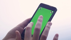 Business woman using a Smart phone Touchscreen CHROMA KEY- Close-up , Fingers Stock Footage