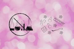 Lab phials crossed out next to cosmetics products, organic make-up Stock Illustration