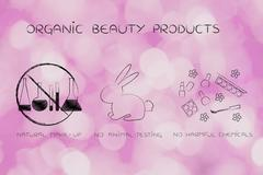 Lab phials crossed out next to bunny & natural make-up Stock Illustration