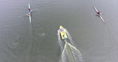 Aerial view Rowing floating kayak on river with motor boat 4k Stock Footage