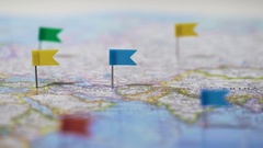 Many locations marked with pins on world map, global communication network Stock Footage