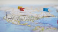 Pins mark cities and towns in countries on world map, mobile network coverage Stock Footage