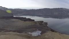 Aerial over a crater in Iceland Stock Footage