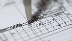 Engineer drawing detailed building plan at construction bureau, architecture Stock Footage