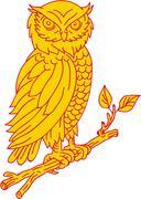 Horned Owl Perching Branch Mono Line Stock Illustration