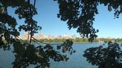 Jacqueline Kennedy Onassis Reservoir with the Upper West Side in the background Stock Footage