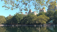 CLOSE UP: Cute model boats raced and displayed at Conservatory Water, New York Stock Footage