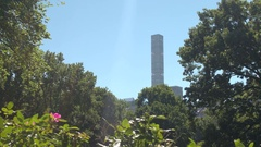 LOW ANGLE: 432 Park Avenue tower in Midtown Manhattan overlooking Central Park Stock Footage