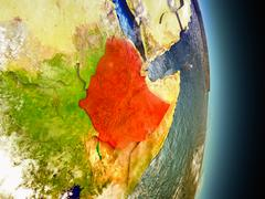 Ethiopia in red from space Stock Illustration