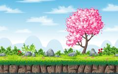 Seamless spring nature background. Vector illustration with separate layers. Stock Illustration