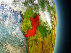 Congo in red from space Stock Illustration