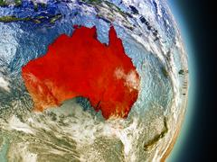 Australia in red from space Stock Illustration