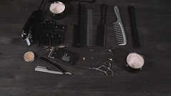 Shaving set with equipment, tools and foam, barber shop, scissors, comb Stock Footage