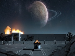 Space Outpost Battle Stock Footage