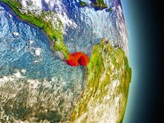 Panama in red from space Stock Illustration