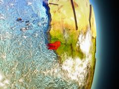 Guinea-Bissau in red from space Stock Illustration
