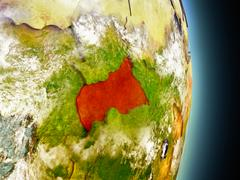 Central Africa in red from space Stock Illustration