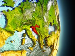 Croatia in red from space Stock Illustration