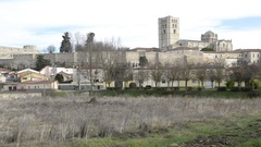Zoom out of the medieval castle in the city of Zamora; Spain Stock Footage