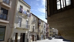 ZAMORA, SPAIN - FEBRUARY 2017: View of a neighborhood in the historic center Stock Footage