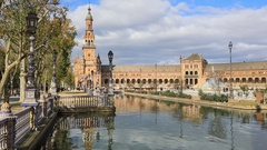 Northern tower on Plaza de Espana in Seville Stock Footage