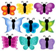 Stylized butterflies theme set Piirros
